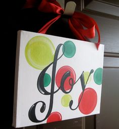 Image detail for -Joy Christmas Canvas Sign by dreamcustomartwork on Etsy Christmas Signs, Christmas Art, Christmas Projects, Simple Christmas, Winter Christmas, Holiday Crafts, Holiday Fun, Christmas Decorations, Christmas Ideas