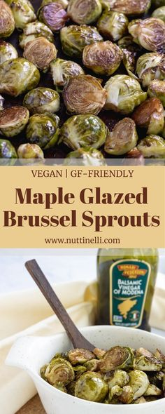 Give these maple glazed brussels sprouts a try at Thanksgiving this year. Don't be surprised if you want to make them throughout the year after trying them! Easy Vegan Lunch, Vegan Lunch Recipes, Vegan Dinners, Easy Dinner Recipes, Healthy Recipes, Quick Recipes, Healthy Meals, Thanksgiving Side Dishes, Thanksgiving Recipes