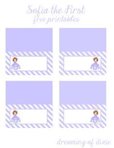 Sofia The First {free printable} fold over tags! Two different shades of purple to match Princess Sofia's Dress