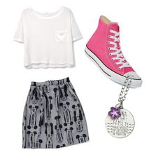 """""""Disney Day"""" by phoebe-smyser ❤ liked on Polyvore featuring MANGO, Converse and Disney"""