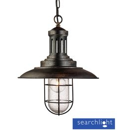 Searchlight Fisherman 1 Light Pendant Ceiling Light, Black Gold Finish With Caged Shade - - Pendant Lights - Cage Pendant Lights Cage Pendant Light, Black Pendant Light, Ceiling Pendant, Pendant Lighting, Ceiling Lights, Cottage Hallway, Light Fittings, Matcha, Black Gold