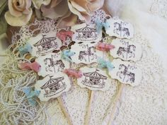 Carousel Horse or Carousel Cupcake Toppers Party by auntiesjammies