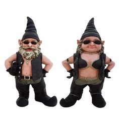 8.5 in. H Biker Dude and Babe Biker Gnomes in Leather Motorcycle Riding Gear Home and Garden Gnome Figurine
