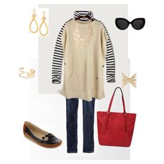 Fall is here, casual Friday. Sweater poncho over stripe turtleneck with skinny jeans, flats, bold purse, and gold accents