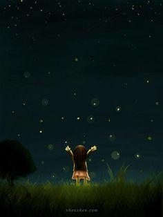 beautiful night sky filled with stars Cute Cartoon Wallpapers, Moon Art, Cute Illustration, Stargazing, Belle Photo, Night Skies, Oeuvre D'art, Cute Art, Fantasy Art
