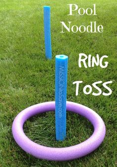 Easy Pool Noodle Ring Toss Game.  See how to make this easy game plus more pool noodle games (no water needed!)