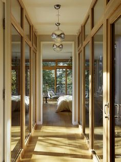 *I love this glass bridge idea, connecting spaces. [Master bedroom/bath/mediation space to the den and Nil's room - LOVE this idea!]