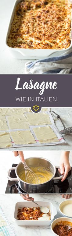 Die klassische Lasagne stammt aus der Region Emilia Romagna in Norditalien und wird mit Béchamelsauce, Bolognese-Ragout und Parmesan zubereitet.