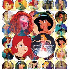 40 Princess Disney Digital Party Stickers Circles от LaLaPrint