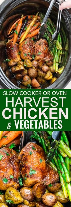 This recipe for Slow Cooker or Oven Harvest Chicken and Autumn Vegetables is an easy set and forget meal that's perfect for busy weeknights. Best of all, this meal in one is easy to customize and made with tender and juicy chicken, flavorful herbs and hearty fall vegetables. So easy to make in one pan with less than 15 minutes of prep time. #autumn #fall #slowcooker #chicken #crockpot #vegetables #comfort #oven #onepan