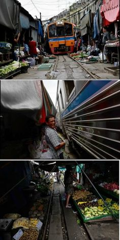 The food market in Maeklong, Thailand is located on top of train tracks. Several times a day shopkeepers swiftly pack up their food stalls and pull back their canopies to let the trains pass. Once the trains have rumbled through, the crates of vegetables, fish, and eggs are placed back into position and shoppers return to the tracks, which serve as a path through the market.