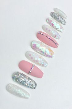 Bright Summer Acrylic Nails Discover TWINKLE Iridescent Opal Matte Pink Silver Glitter Swarovski Crystal Press on Nails Diy Nails, Glitter Nails, Manicure, Silver Glitter, Matte Pink Nails, Oval Nails, Red Nail, Shellac Nails, Bling Nails