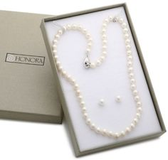 Honora White Freshwater Cultured Pearl 18%22 Necklace and Stud Earrings Set
