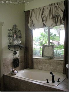 For Master Bath - Drop Cloth Valance. (would be cute tied up with some ribbon instead of jute)