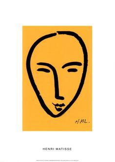 Visage Sur Fond Jaune Serigrafi af Henri Matisse på AllPosters.dk