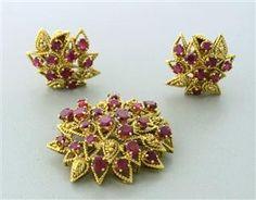 Vintage 18k Gold 8.00ctw Ruby Earrings Brooch Pin Set starting bid $2,100/ July 21 @ hamptonauction.com