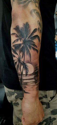 Tattoo Ärmel Unterarm Bäume Ideen tattoo old school tattoo arm tattoo tattoo tattoos tattoo antebrazo arm sleeve tattoo Palm Tattoos, Sunset Tattoos, Forarm Tattoos, Cool Forearm Tattoos, Body Art Tattoos, Cool Tattoos, Beach Tattoos, Ocean Tattoos, Forearm Tree Tattoo