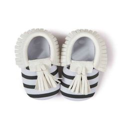 Stripe Black & White Baby Moccasins