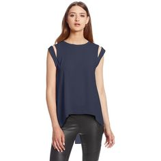 BCBGMAXAZRIA Women's Calin Cold Shoulder Hi-Lo Blouse featuring polyvore fashion clothing tops blouses cold shoulder tops cut out shoulder tops cold shoulder blouse cut shoulder top cutout shoulder top
