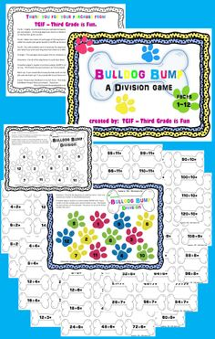 Number and Algebra, Multiplication/Division - Math Division Game  $2 Download  Source: http://www.teacherspayteachers.com/Product/Division-Facts-1-12-Bulldog-Bump-Game-paws-and-dog-bones-1118351