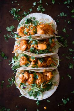 These chipotle shrimp tacos are the perfect balance of sweet and spicy. Flour tortillas topped with tangy broccoli slaw, chipotle shrimp and gochujang mayonnaise- Yummy! Fish Recipes, Seafood Recipes, Mexican Food Recipes, Great Recipes, Cooking Recipes, Healthy Recipes, Smoker Recipes, Healthy Breakfasts, Thai Recipes