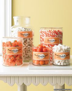 Candy Jar Treats | Martha Stewart Living - A selection of sunny sweets is even more tempting when displayed in glass containers.