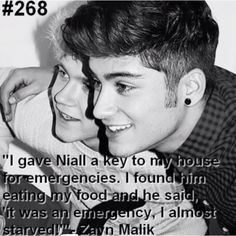 It was an emergency!! I almost starved! Nialler Horan Zayny Malik One Direction