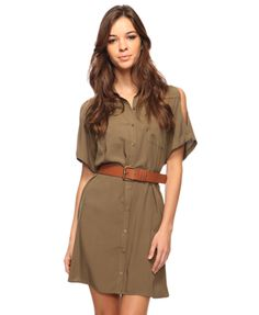 Cutout Shoulders Shirtdress from Forever 21