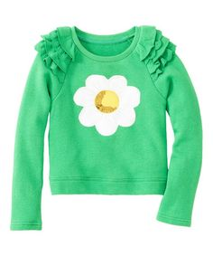 Another great find on #zulily! Green Daisy Sequin Ruffle Top - Toddler & Girls #zulilyfinds