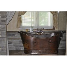 """Premier Copper Products 67"""" x 34"""" Hammered Copper Double Slipper Tub"""