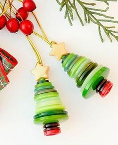 Vintage Button Christmas Tree Ornament
