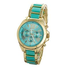 TODDCAHALAN Wristwatch Womens Mint Green Fashion Stainless Steel Roman Numerals Quartz Analog Wrist Watch