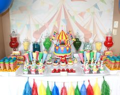 Colorful Circus Dessert Table by Parties by KLM #circus #parties #desserttable