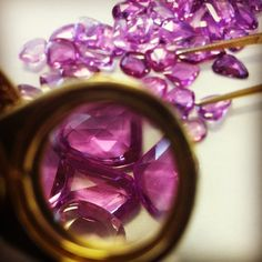 Just another day picking out rose cut fancy sapphires for a new design! #omiprive #sapphires #rosecut #gems #gemstones #pinksapphire #purplesapphire