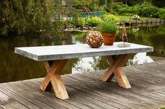 blad van beton cire Micro Concrete, Picnic Table, Outdoor Furniture, Outdoor Decor, Interior And Exterior, Garden Ideas, Design, Home Decor, Google