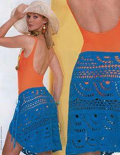 Bathing Suit cover up / Receitas de Crochet: Saia azul para a praia