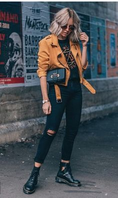 Fall outfit | Biker boots | Jacket | Inspo | More on Fashionchick