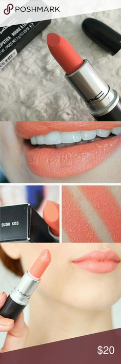 MAC Sushi Kiss Lipstick 🍊MAC Lipstick - Sushi Kiss from All About Orange Collection. Brand new in a box!🍊  Mac Sushi Kiss is the perfect coral-orange shade that is light, but not too light. Perfect for spring and summer!  Satin finish, high color look that has a smooth texture along with a moderate shine. Vitamin E and C. Added Vanilla for aroma and flavor.  Item is BNIB and comes from a smoke/pet free home. MAC Cosmetics Makeup Lipstick