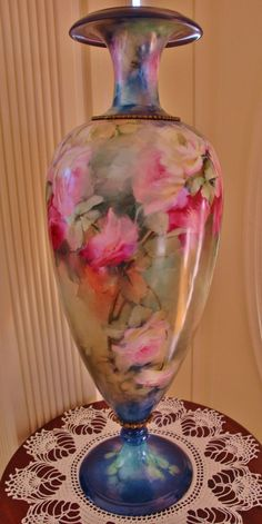 Phenomenal Antique Limoges France Floor Vase 19th Century Hand Painted French Porcelain ~Roses~