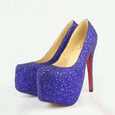 Christian Louboutin Daffodile Strass Platform Pumps In Blue Shoes Purple Pumps, Cheap Christian Louboutin, Designer High Heels, Platform Pumps, Pump Shoes, Cl Shoes, Funky Shoes, Nike Shoes, Womens High Heels
