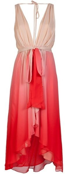 V-neck red-to-pink-to-peach ombre dress in layered silk sheer with ruffling front and high-low hem. By Haute Hippie