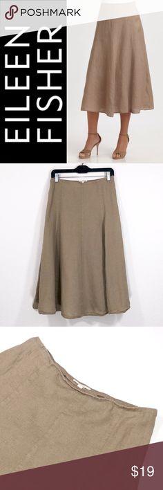 "Eileen Fisher Petite Linen Skirt ✔️Waist Flat: 14"" approx. ✔️Length: 29"" approx. ✔️100% Irish Linen ✔️Lined ✔️No Holes, Stains or Damages ✔️1606-4 Eileen Fisher Skirts"