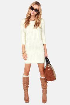 Darling Hazel Cream Knit Sweater Dress at LuLus.com!