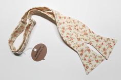 Freestyle Blush Floral Bow Tie  Cream Bow Tie  by popARTicles