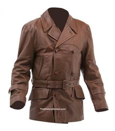 Selection of and leather jackets, coats and trousers in brown leather, including Royal Flying Corps coat, British leather Jerkin, Hans Joachim Marseille leather jacket and much Vintage Leather Jacket, Leather Men, Leather Jackets, Brown Leather, Leather Coats, British Uniforms, Revival Clothing, Men Closet, Types Of Jackets