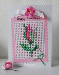 Irene de Mars: Cross Stitched Rose pattern from internet; Embroidery Cards, Cross Stitch Embroidery, Cross Stitch Patterns, Cross Stitch Cards, Cross Stitch Rose, Diamond Paint, Easter Cross, Marianne Design, Card Patterns