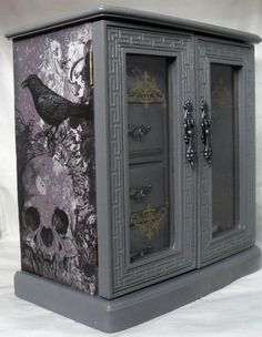 Gothic Jewelry Box - Skull Jewelry Box - Skull And Raven