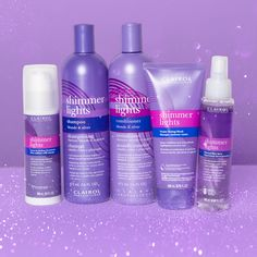 Which of our 🆕 #ShimmerLights products are you still dying to try? 👇 💜 Leave-in Styling Treatment  💜 Violet Toning Mask 💜 Thermal Shine Spray Now Shimmer Lights gives you *everything* you need to 𝓂𝑜𝒾𝓈𝓉𝓊𝓇𝒾𝓏𝑒, 𝕒𝕕𝕕 𝕤𝕙𝕚𝕟𝕖, and 𝐧𝐞𝐮𝐭𝐫𝐚𝐥𝐢𝐳𝐞 𝐛𝐫𝐚𝐬𝐬! All products are available at @ultabeauty! 🔗 in bio. #ClairolProfessional #KeepUpYourBlonde Blond, Shine Spray, Shimmer Lights, Moisturizer, Personal Care, Ads, Bottle, Beauty, Collection