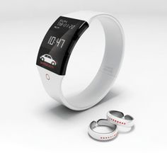 Vibering Jewelry for the deaf (concept) - The rings are worn on both hands and serve as the 'ears' that listen for sounds coming from behind and determine distance, position and vibrate according to the source. The watch identifies the sound wave and provides the info to the wearer in an easy-to-read display.