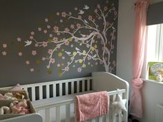 Baby girl grey pink white gold nursery blossom tree wall stickerbaby girl g Pink Bedroom Design, Pink Bedroom Decor, Pink Bedroom For Girls, Pink Bedrooms, Gray Bedroom, Kids Bedroom, Bedroom Ideas, Master Bedroom, Gold Nursery
